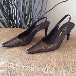 New Nina Slingback Bronze Glitter Shoes